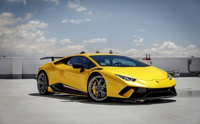 Picture Lamborghini, Yellow, Performante, Huracan, Sight