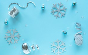 Picture winter, balls, snowflakes, holiday, Christmas, New year, serpentine, blue background, Christmas decorations, Christmas decorations, composition, …