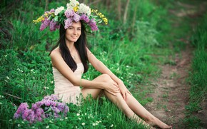 Picture girl, flowers, nature, pose, smile, spring, lilac, Sergey Shatskov