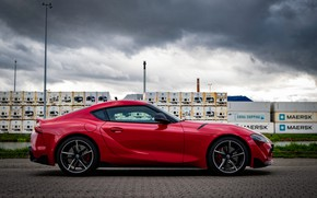 Picture red, coupe, Toyota, Supra, containers, the fifth generation, in profile, mk5, double, 2019, GR Above, …