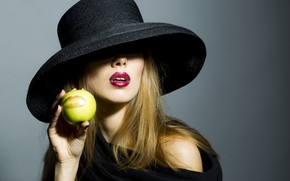 Picture girl, model, apple, girl, hat