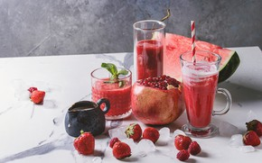 Picture berries, watermelon, cocktail, fruit, smoothies