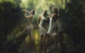 Picture stream, girls, twilight, bathing, pitcher