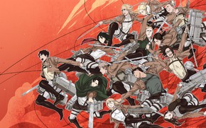 Picture anime, art, red background, Shingeki no Kyojin, Attack of the titans, The invasion of the …