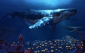 Picture Home, The ocean, Sea, The city, Kit, Whales, Fantasy, Art, Water, Underwater, Under water, Ocean, …