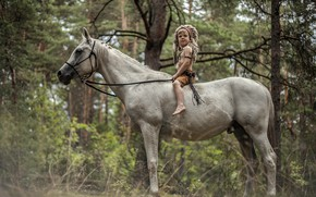 Wallpaper forest, horse, boy