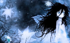 Picture cold, night, fog, loneliness, fear, baby, Berserk, Berserker, big eyes, disheveled hair