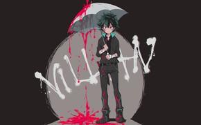 Wallpaper look, blood, umbrella, guy, Boku no Hero Academy, Midori Isuku, My heroic academia, Izuku Midoriya