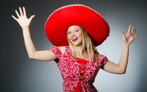 Picture hat, look, pose, background, blonde, smile, dance, hairstyle, makeup, sambrero, girl, in red, mood, joy, ...