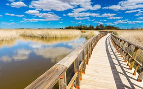 Picture the sky, water, clouds, the bridge, Spain, the plain of La Mancha, National Park Tablas …