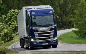 Picture road, blue, Scania, tractor, triaxial, the trailer, 2019, R-series, R540