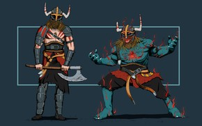 Picture Monster, Figure, Viking, Two, Minimalism, Warrior, Concept Art, Art, Louis Picard, by Louis Picard, Viking …