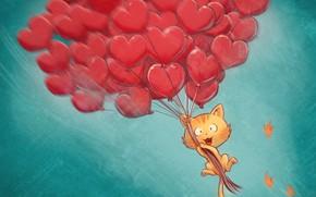 Picture cat, balls, David Revoy, hearts, hearts, congratulations, ballons, Pepper&Carrot, Pepper and Carrot, comix book
