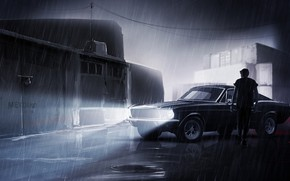 Picture Mustang, Ford, Auto, Night, Figure, People, Machine, Rain, Car, Art, Dock, Night, Driver, Illustration, Concept …
