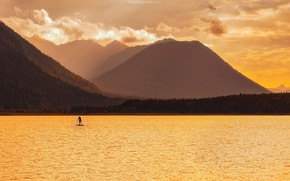 Picture Germany, sunrise, surfing, Lake, Bavarian alps