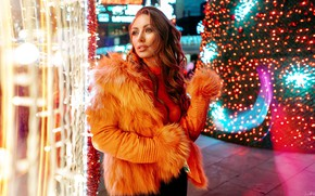 Picture lights, pose, model, new year, portrait, makeup, jacket, hairstyle, fur, brown hair, is, garland, Kaan …