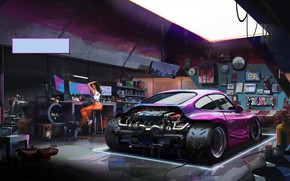 Picture Girl, Auto, Figure, Porsche, Machine, Girl, Garage, Car, Illustration, Garage, AGO, by LIN, LIN