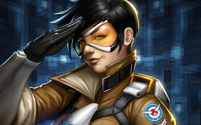 Picture girl, glasses, Overwatch, Tracer
