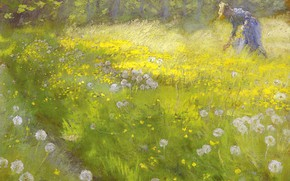 Picture picture, dandelions, 1892, Peder Severin Kroyer, pasas, Peder Severin Kroyer, Maria Kroyer in the garden …