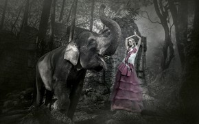 Picture girl, background, elephant