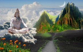 Picture road, the way, calm, Maki, space, the clouds, the tops of the mountains, Shiva