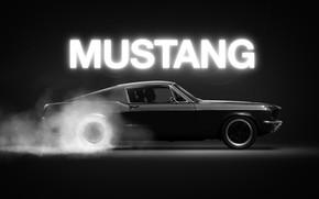 Picture Mustang, Ford, Auto, Black, Figure, Smoke, Neon, Machine, Car, Art, Driver, Illustration, Concept Art, Animation, …