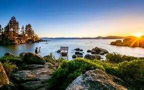 Picture the sun, rays, trees, landscape, sunset, mountains, nature, lake, stones, photographer, USA, Tahoe, Lake Tahoe