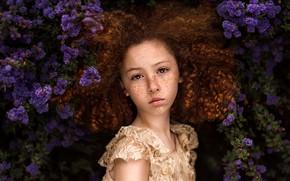 Picture girl, freckles, curls, flowering, Paulina Stalij-Duczman