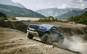 Picture blue, Ford, dust, Raptor, pickup, primer, 2018, Ranger