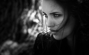 Picture close-up, face, model, portrait, makeup, hairstyle, black and white, beauty, bokeh, Joachim Bergauer, Veronica Gemini