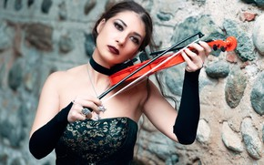 Picture violin, makeup, brunette, bokeh, Mary