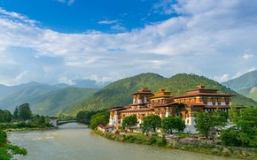 Picture mountains, river, Asia, the monastery, Asia, Bhutan, Punakha