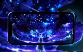 Picture the sky, girl, night, wings, fantasy, shooting, smartphone