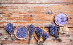 Picture flowers, Board, soap, lilac, a lot, lavender, Spa, composition, buds, bowls, scoop, bath salt, sea …
