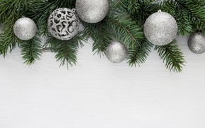 Picture decoration, balls, Christmas, New year, christmas, balls, wood, decoration, frame, fir tree, fir-tree branches