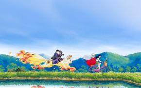 Picture bike, Japan, the demon, schoolgirl, walk, friends, pond, art, blue sky, Kirara, Inuyasha, Inuyasha, Rumiko …
