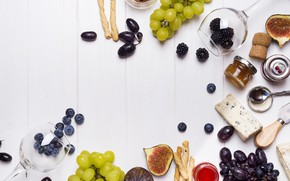 Picture glass, cheese, grapes, BlackBerry, jam, blueberries, figs