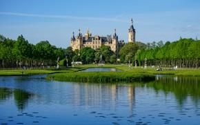 Picture pond, castle, Germany, Schwerin Castle, Mecklenburg-Vorpommern
