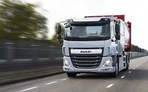 Picture grey, truck, DAF, DAF, 6x2, on the road, triaxial, platform, DAF CF, CF, CF Electric