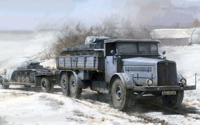 Picture Truck, tanks, transportation, Faun L900, trailer SdAh 115, PZ II
