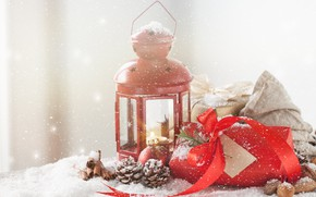 Picture winter, snow, gift, lamp, New Year, decor, spices, Valeria Maksakova