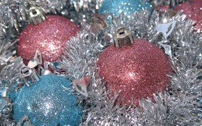 Picture winter, balls, holiday, balls, Shine, blue, Christmas, New year, pink, silver, tinsel, bokeh, Christmas decorations, …