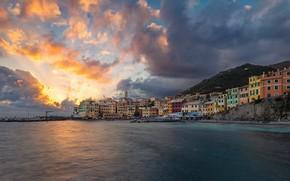 Picture sea, sunset, coast, building, home, Italy, Italy, The Ligurian sea, Liguria, Liguria, Ligurian Sea, Bogliasco, …