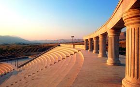 Picture sunset, view, romantic, steps, stage, relaxing, kurdistan, pillars, هەواری شار