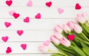 Picture love, bouquet, hearts, tulips, love, pink, wood, pink, flowers, romantic, hearts, tulips, valentine's day