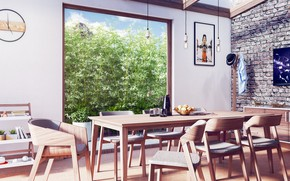 Picture room, interior, dining room, modern dining room