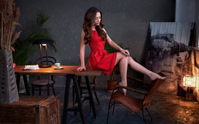 Picture girl, pose, table, room, hair, dress, brunette, lamp, legs, beauty, Olszewski Sergey