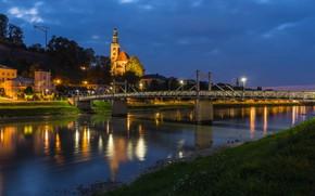 Picture bridge, lights, river, the evening, Salzburg, Austria