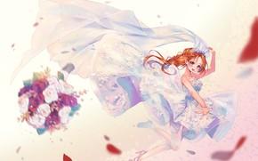 Picture girl, bouquet, the bride, veil