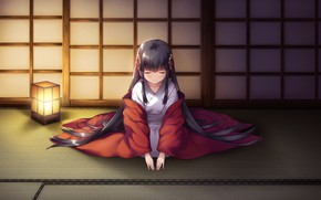 Picture girl, lantern, kimono, games, anime, bow, Deep One